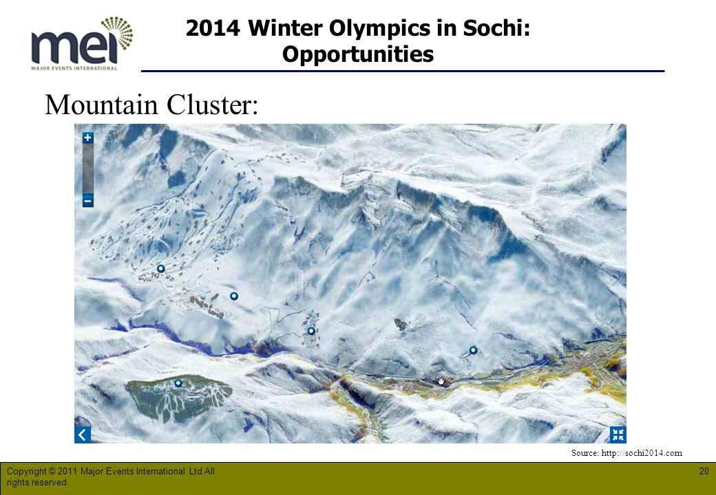 2014 Winter Olympics in Sochi: Opportunities Mountain Cluster: Copyright © 2011 Major Events International Ltd All rights reserved.