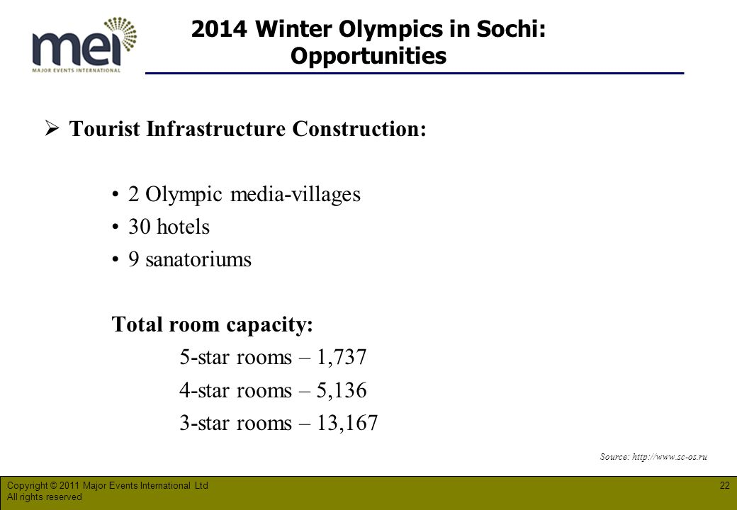 2014 Winter Olympics in Sochi: Opportunities Tourist Infrastructure Construction: 2 Olympic media-villages 30 hotels 9 sanatoriums Total room capacity: 5-star rooms – 1,737 4-star rooms – 5,136 3-star rooms – 13,167 Source:   Copyright © 2011 Major Events International Ltd All rights reserved 22