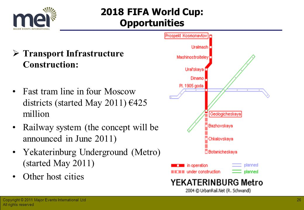2018 FIFA World Cup: Opportunities Transport Infrastructure Construction: Fast tram line in four Moscow districts (started May 2011) 425 million Railway system (the concept will be announced in June 2011) Yekaterinburg Underground (Metro) (started May 2011) Other host cities Copyright © 2011 Major Events International Ltd All rights reserved 26