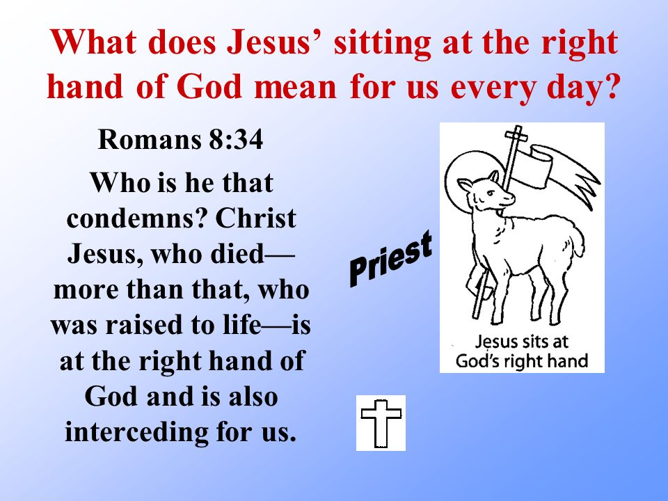 What does Jesus sitting at the right hand of God mean for us every day? Romans 8:34 Who is he that condemns? Christ Jesus, who died more than that, wh