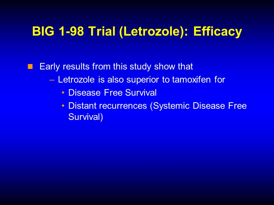 BIG 1-98 Trial (Letrozole): Efficacy Early results from this study show that –Letrozole is also superior to tamoxifen for Disease Free Survival Distant recurrences (Systemic Disease Free Survival)