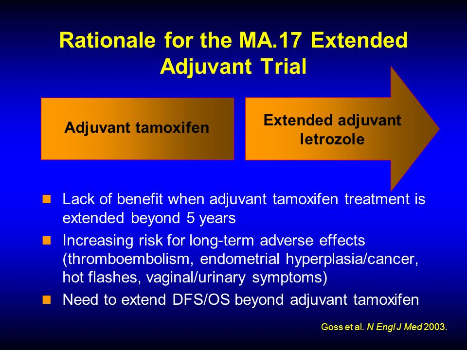 Extended adjuvant letrozole Adjuvant tamoxifen Rationale for the MA.17 Extended Adjuvant Trial Lack of benefit when adjuvant tamoxifen treatment is extended beyond 5 years Increasing risk for long-term adverse effects (thromboembolism, endometrial hyperplasia/cancer, hot flashes, vaginal/urinary symptoms) Need to extend DFS/OS beyond adjuvant tamoxifen Goss et al.