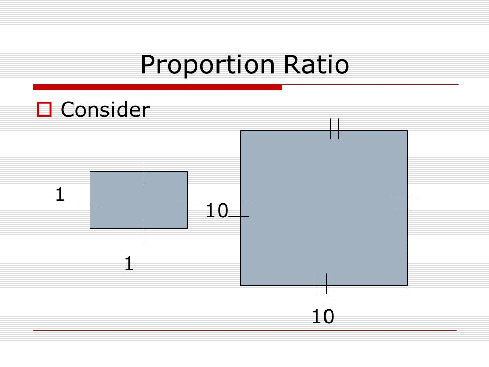 Proportion Ratio Consider 1 10 1