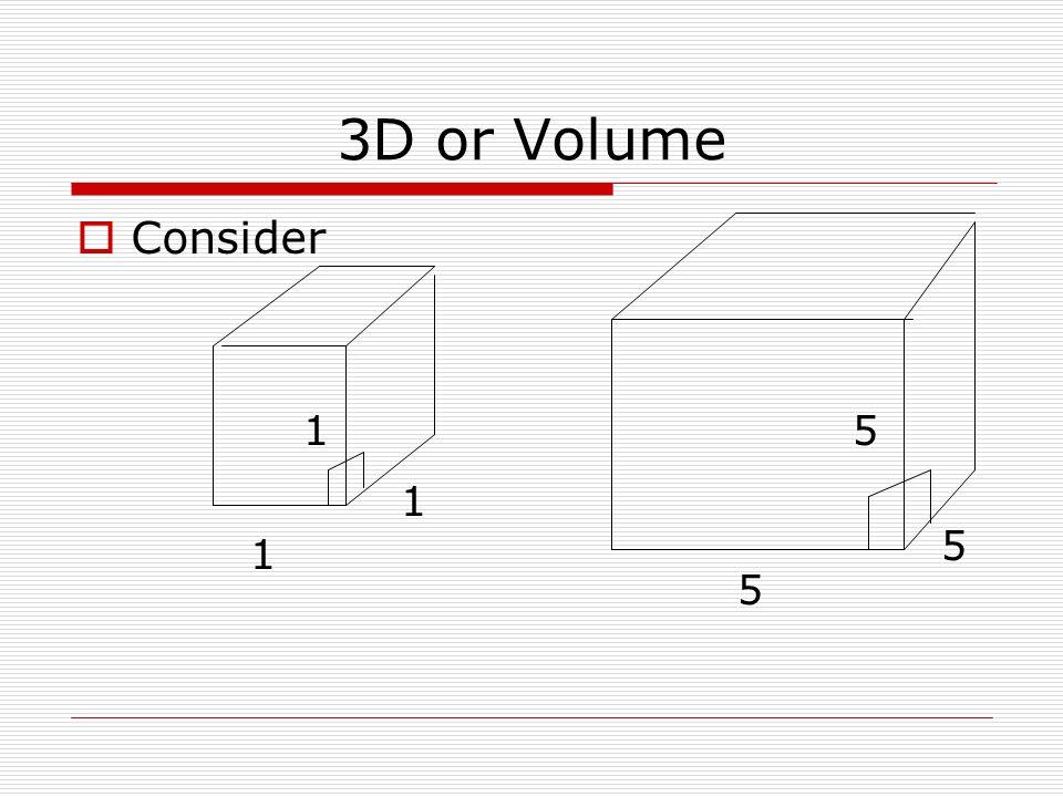 3D or Volume Consider 1 1 1 5 5 5