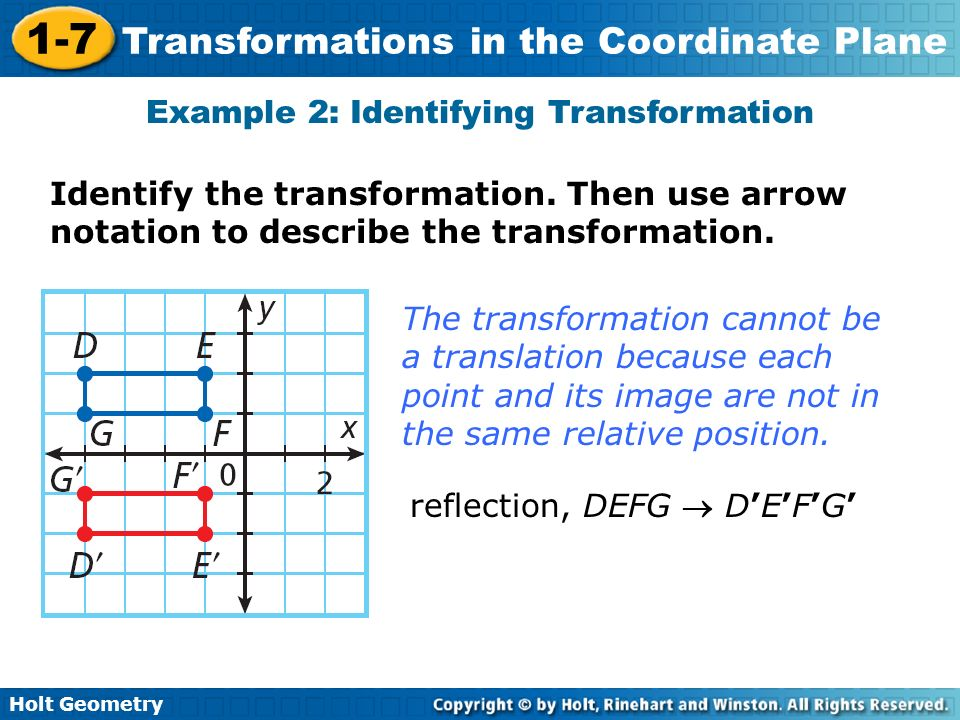Holt Geometry 1-7 Transformations in the Coordinate Plane Example 2: Identifying Transformation Identify the transformation. Then use arrow notation t