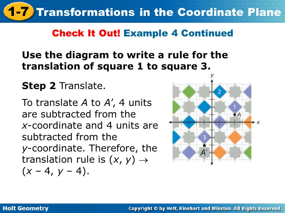 Holt Geometry 1-7 Transformations in the Coordinate Plane Check It Out! Example 4 Continued Use the diagram to write a rule for the translation of squ