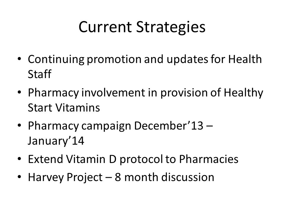 Current Strategies Continuing promotion and updates for Health Staff Pharmacy involvement in provision of Healthy Start Vitamins Pharmacy campaign December13 – January14 Extend Vitamin D protocol to Pharmacies Harvey Project – 8 month discussion