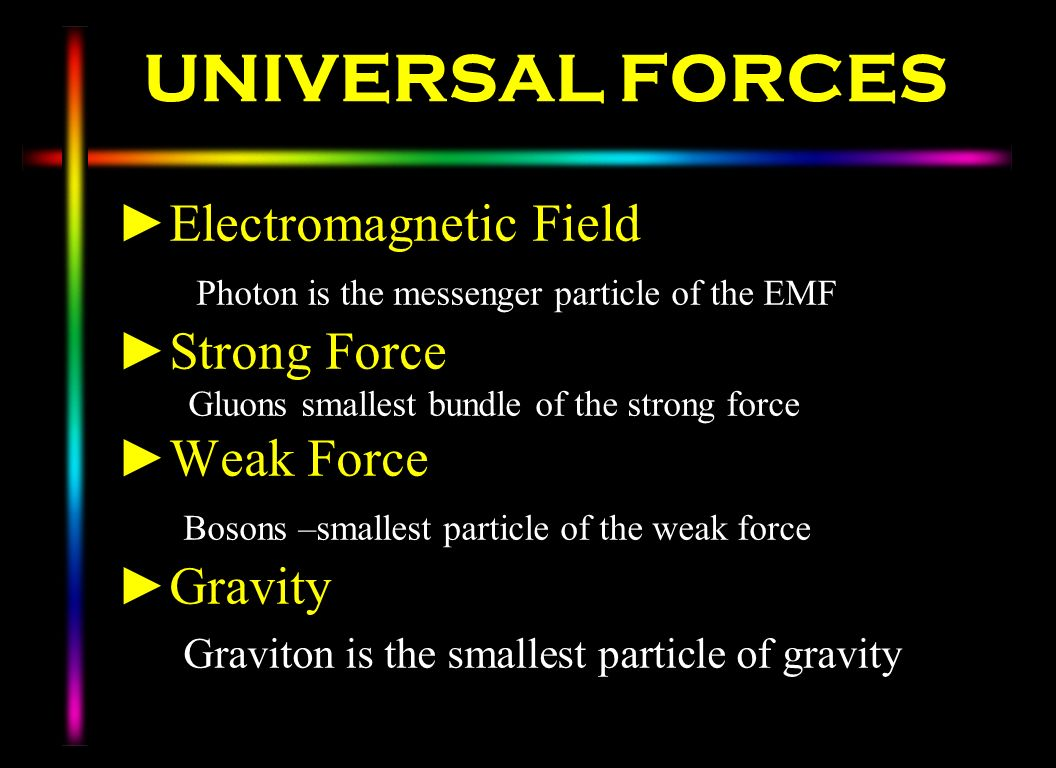 UNIVERSAL FORCES Electromagnetic Field Photon is the messenger particle of the EMF Strong Force Gluons smallest bundle of the strong force Weak Force