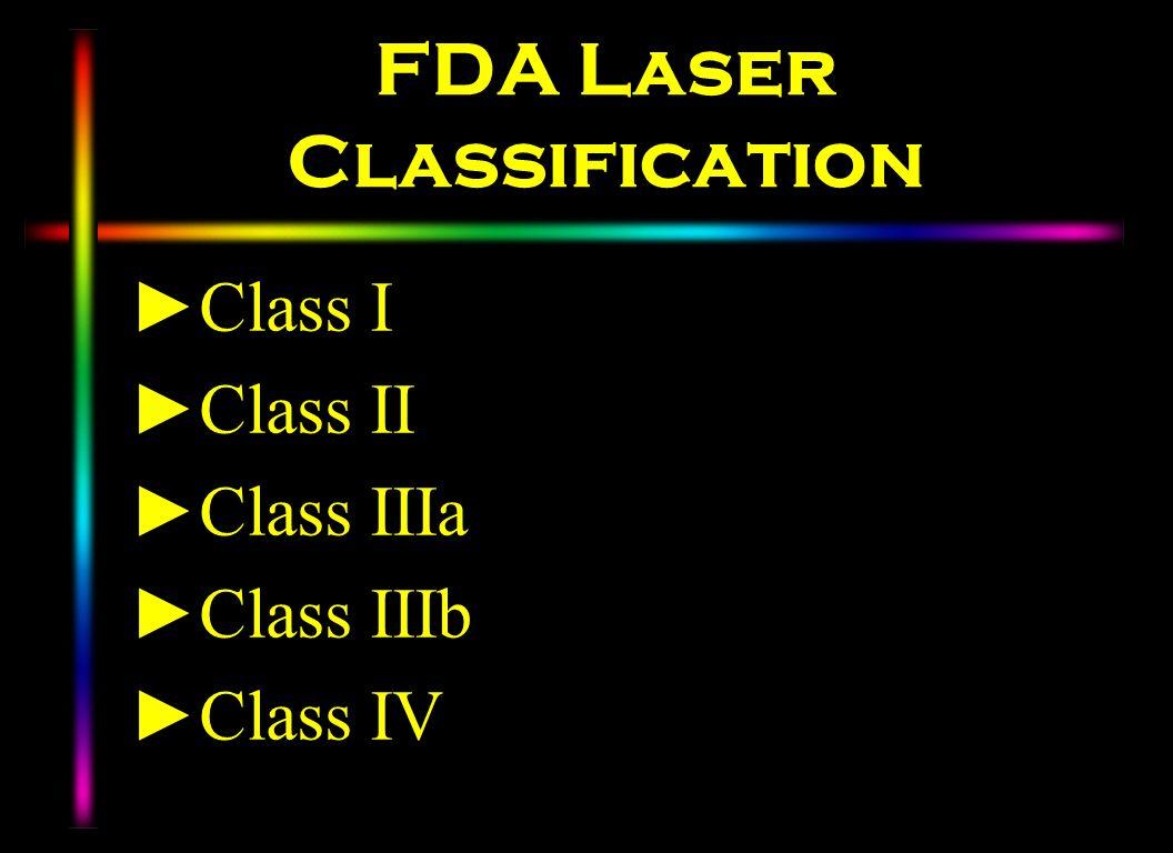 FDA Laser Classification Class I Class II Class IIIa Class IIIb Class IV