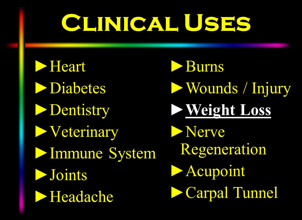 Clinical Uses Heart Diabetes Dentistry Veterinary Immune System Joints Headache Burns Wounds / Injury Weight Loss Nerve Regeneration Acupoint Carpal T