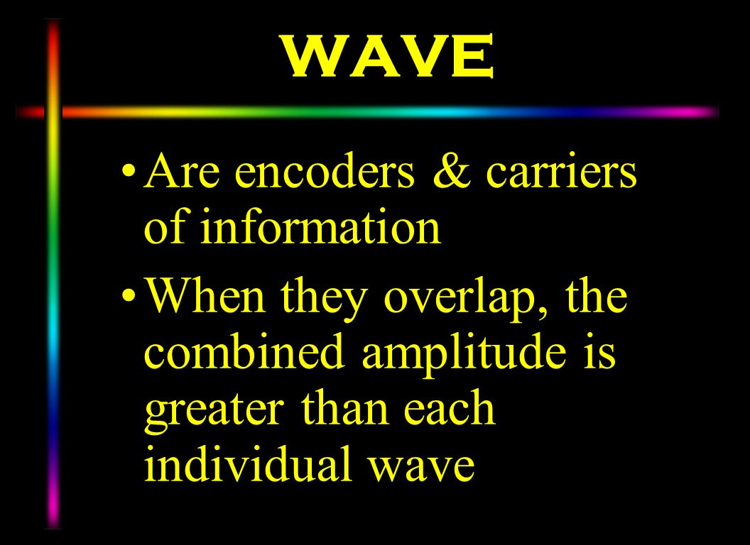 WAVE Are encoders & carriers of information When they overlap, the combined amplitude is greater than each individual wave