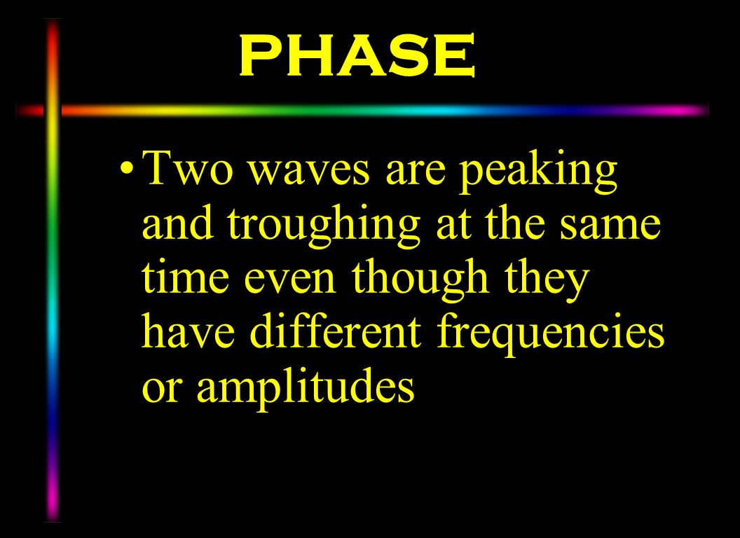PHASE Two waves are peaking and troughing at the same time even though they have different frequencies or amplitudes