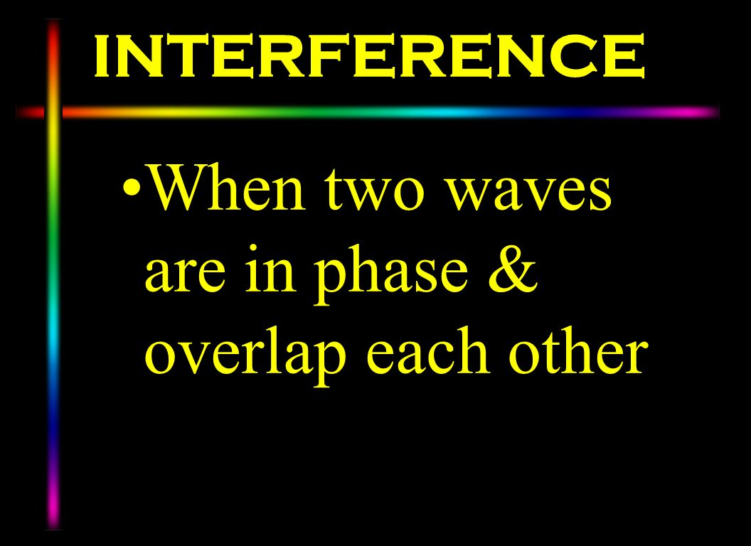 INTERFERENCE When two waves are in phase & overlap each other