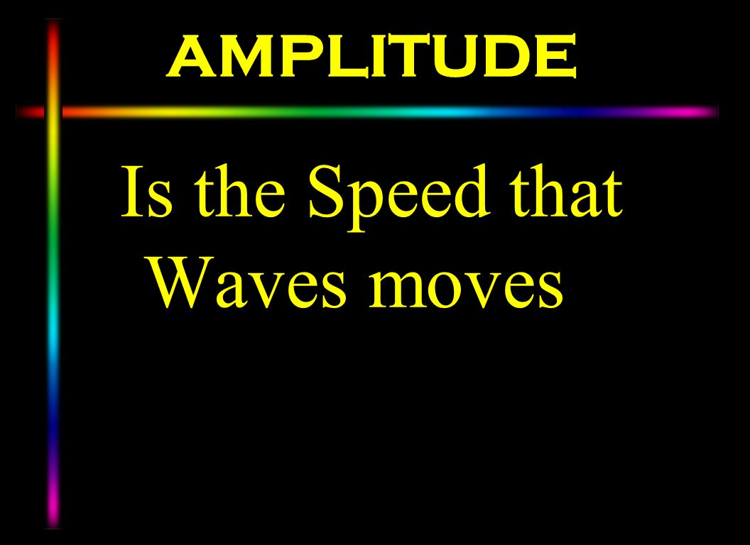AMPLITUDE Is the Speed that Waves moves