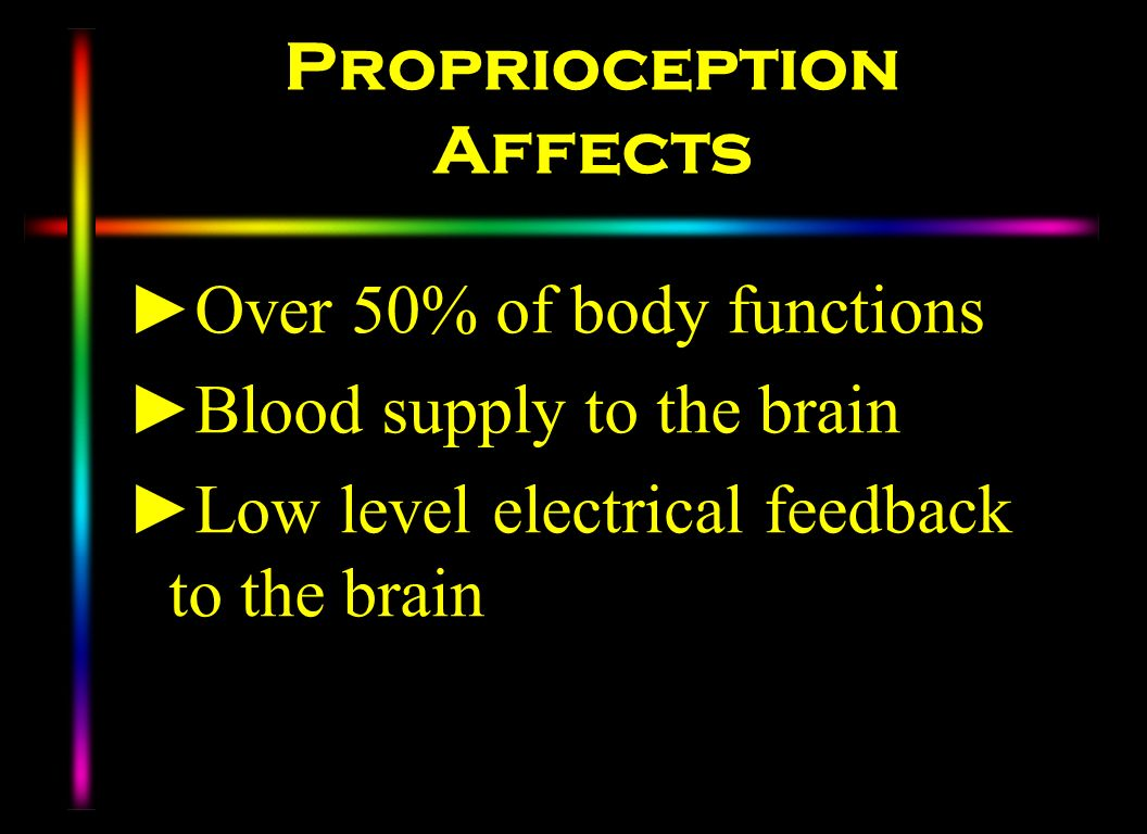Proprioception Affects Over 50% of body functions Blood supply to the brain Low level electrical feedback to the brain