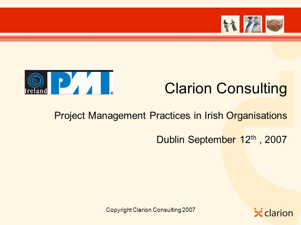 Copyright Clarion Consulting 2007 People - Is there a Sponsor