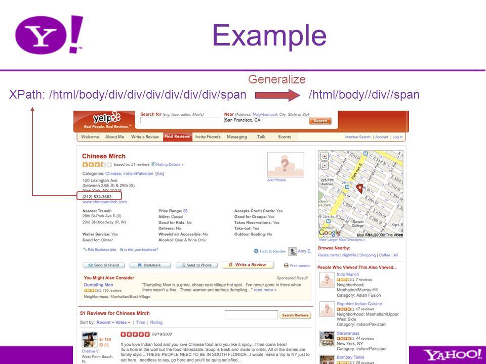 Example XPath: /html/body/div/div/div/div/div/div/span /html/body//div//span Generalize