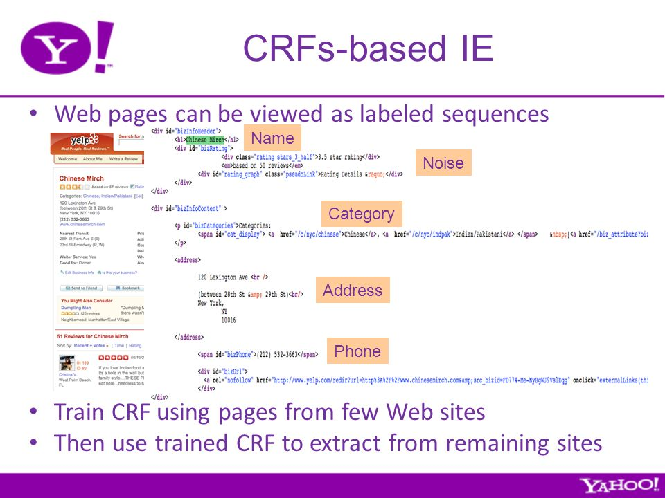 CRFs-based IE Name Category Address Phone Noise Web pages can be viewed as labeled sequences Train CRF using pages from few Web sites Then use trained CRF to extract from remaining sites