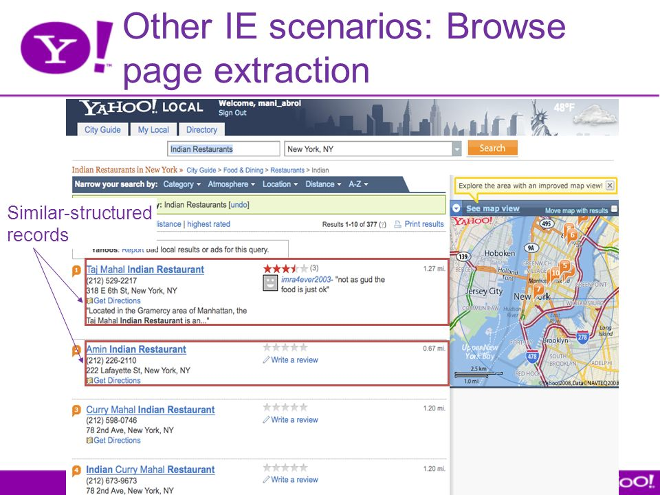 Other IE scenarios: Browse page extraction Similar-structured records