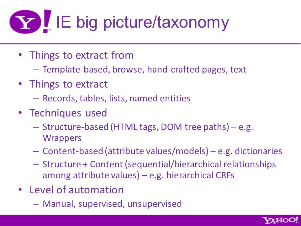 IE big picture/taxonomy Things to extract from – Template-based, browse, hand-crafted pages, text Things to extract – Records, tables, lists, named entities Techniques used – Structure-based (HTML tags, DOM tree paths) – e.g.
