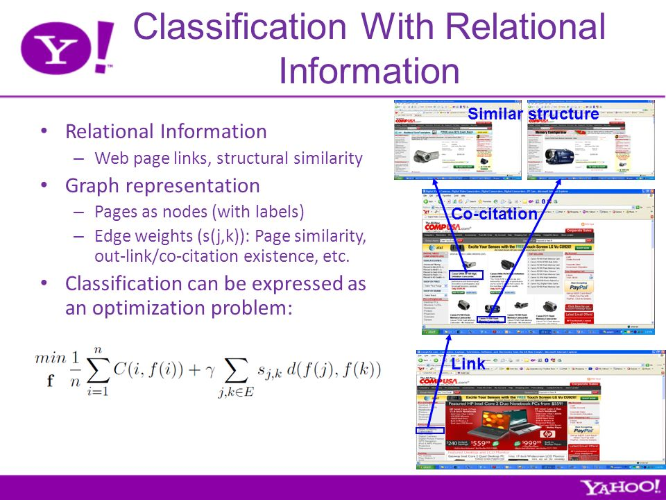 Classification With Relational Information Relational Information – Web page links, structural similarity Graph representation – Pages as nodes (with labels) – Edge weights (s(j,k)): Page similarity, out-link/co-citation existence, etc.