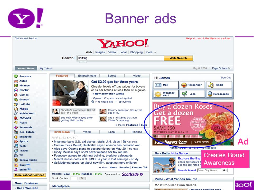 Banner ads Show Web page with display ads Ad Creates Brand Awareness