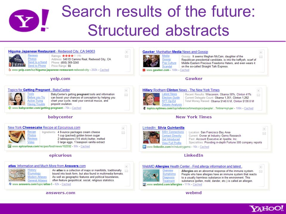 Search results of the future: Structured abstracts yelp.com babycenter epicurious answers.com LinkedIn webmd New York Times Gawker