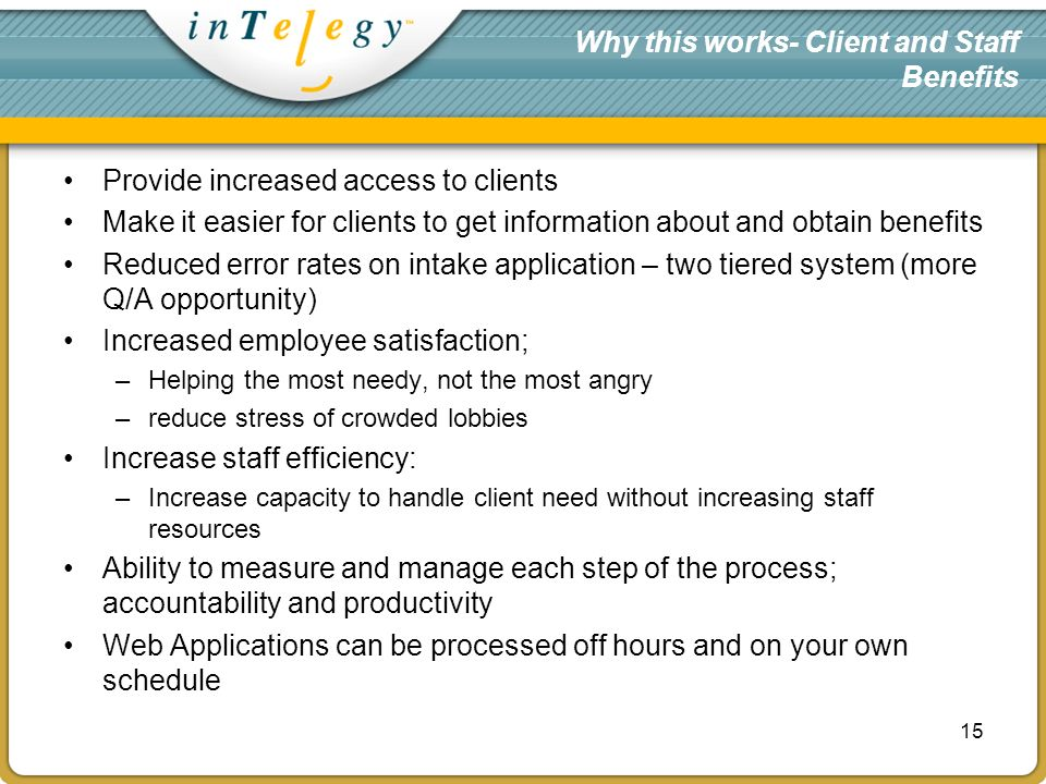 Why this works- Client and Staff Benefits Provide increased access to clients Make it easier for clients to get information about and obtain benefits Reduced error rates on intake application – two tiered system (more Q/A opportunity) Increased employee satisfaction; –Helping the most needy, not the most angry –reduce stress of crowded lobbies Increase staff efficiency: –Increase capacity to handle client need without increasing staff resources Ability to measure and manage each step of the process; accountability and productivity Web Applications can be processed off hours and on your own schedule 15