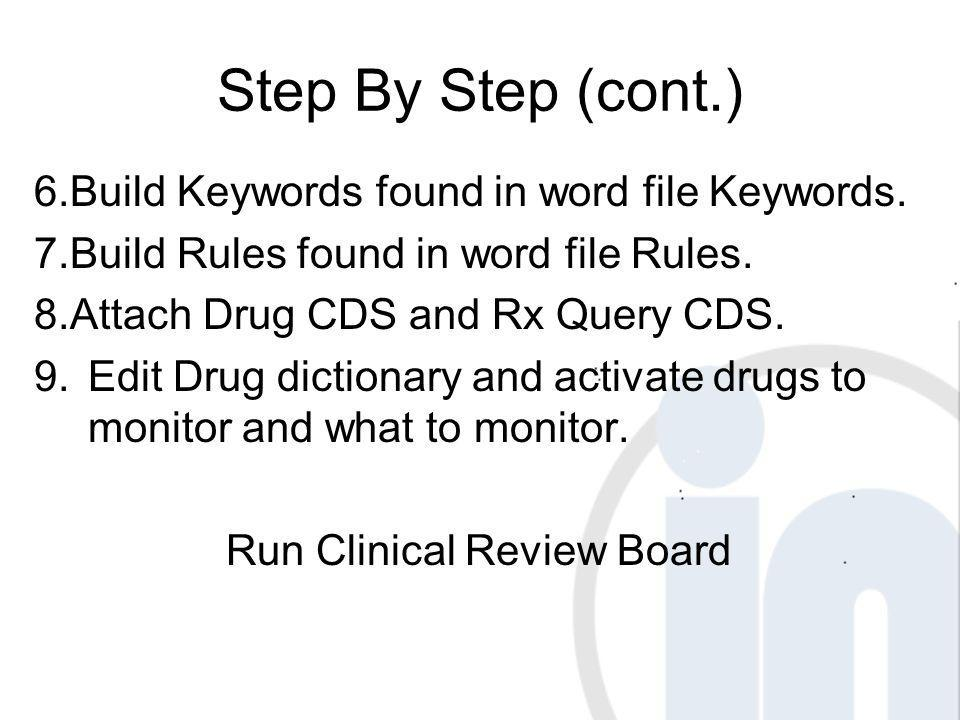 Step By Step (cont.) 6.Build Keywords found in word file Keywords. 7.Build Rules found in word file Rules. 8.Attach Drug CDS and Rx Query CDS. 9.Edit