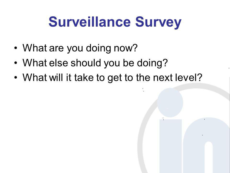 Surveillance Survey What are you doing now? What else should you be doing? What will it take to get to the next level?