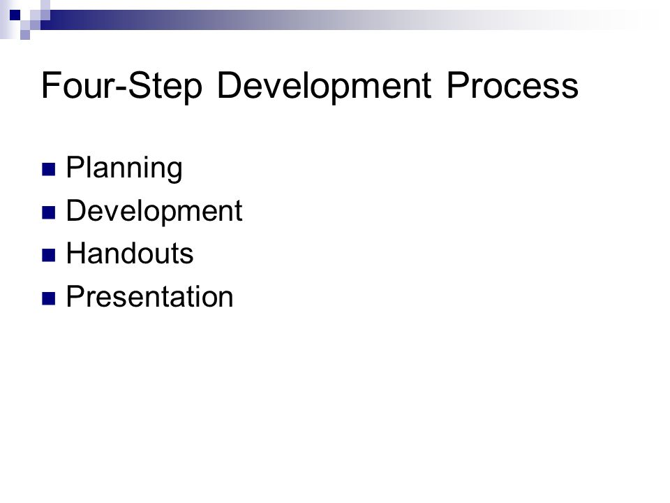 Four-Step Development Process Planning Development Handouts Presentation