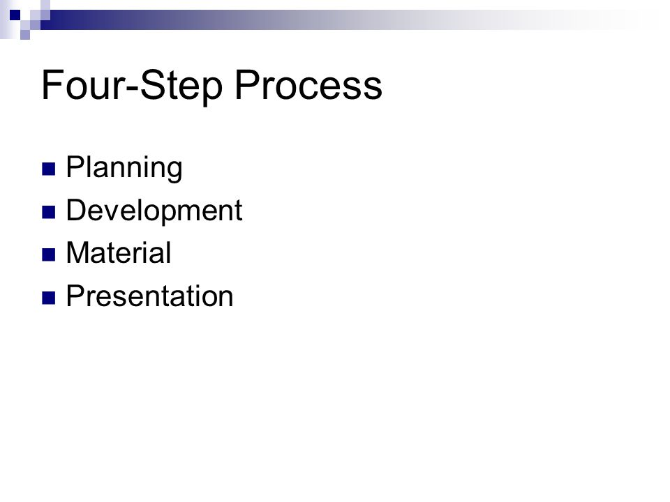 Four-Step Process Planning Development Material Presentation