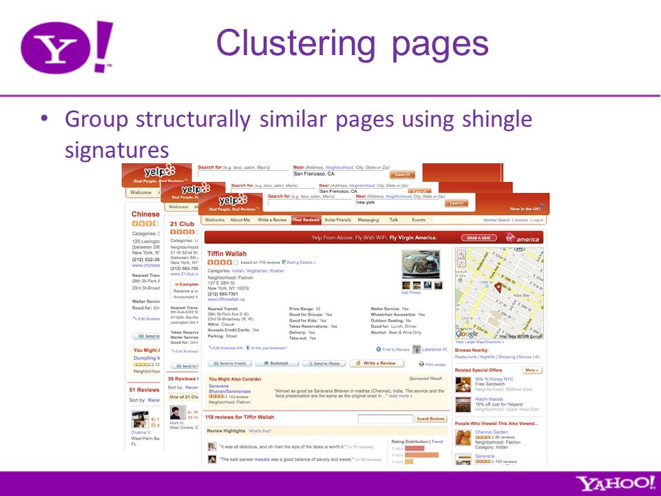 Clustering pages Group structurally similar pages using shingle signatures