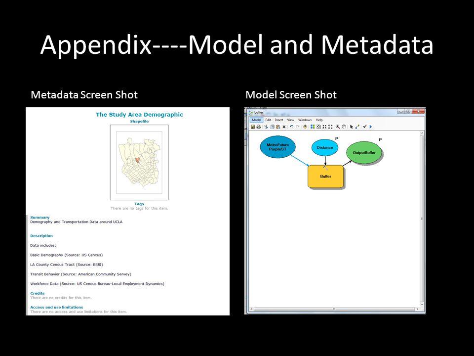 Appendix----Model and Metadata Metadata Screen ShotModel Screen Shot