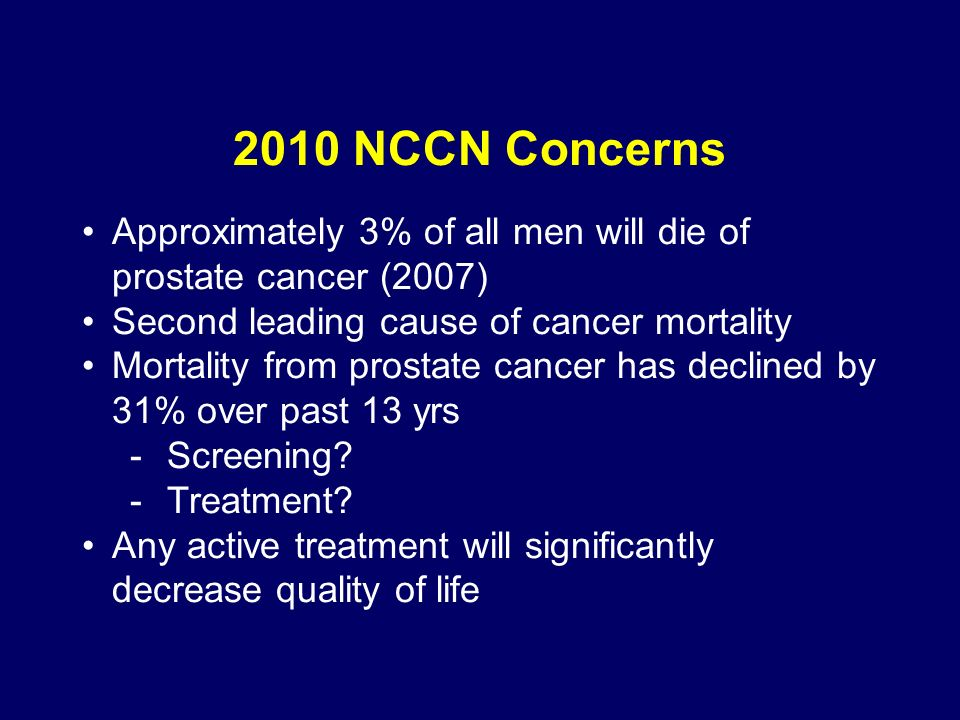 2010 NCCN Concerns Approximately 3% of all men will die of prostate cancer (2007) Second leading cause of cancer mortality Mortality from prostate cancer has declined by 31% over past 13 yrs -Screening.