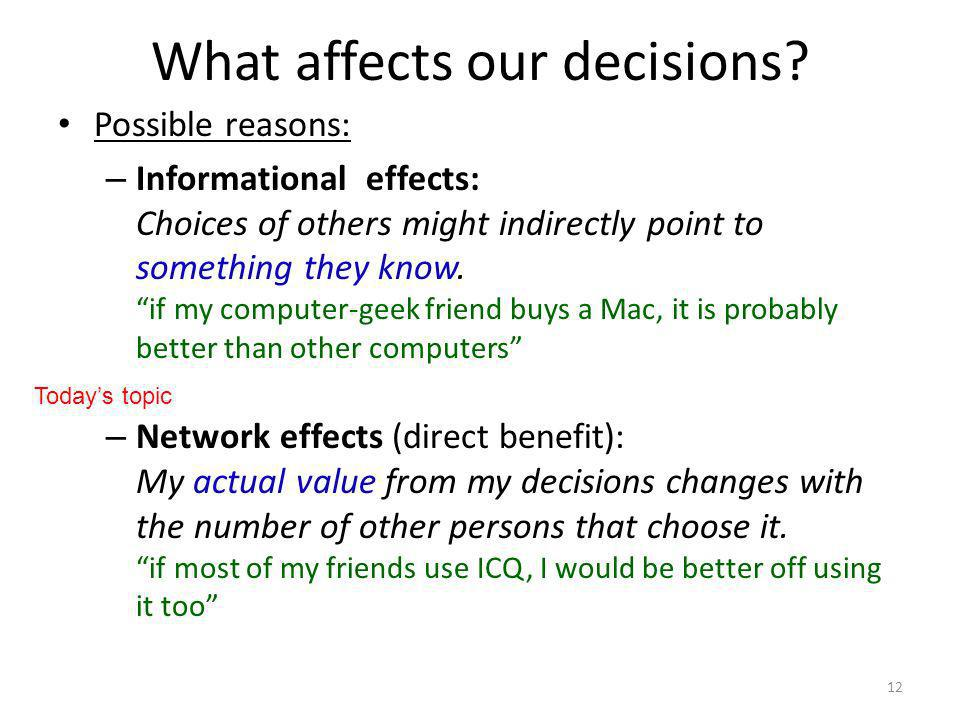 What affects our decisions.