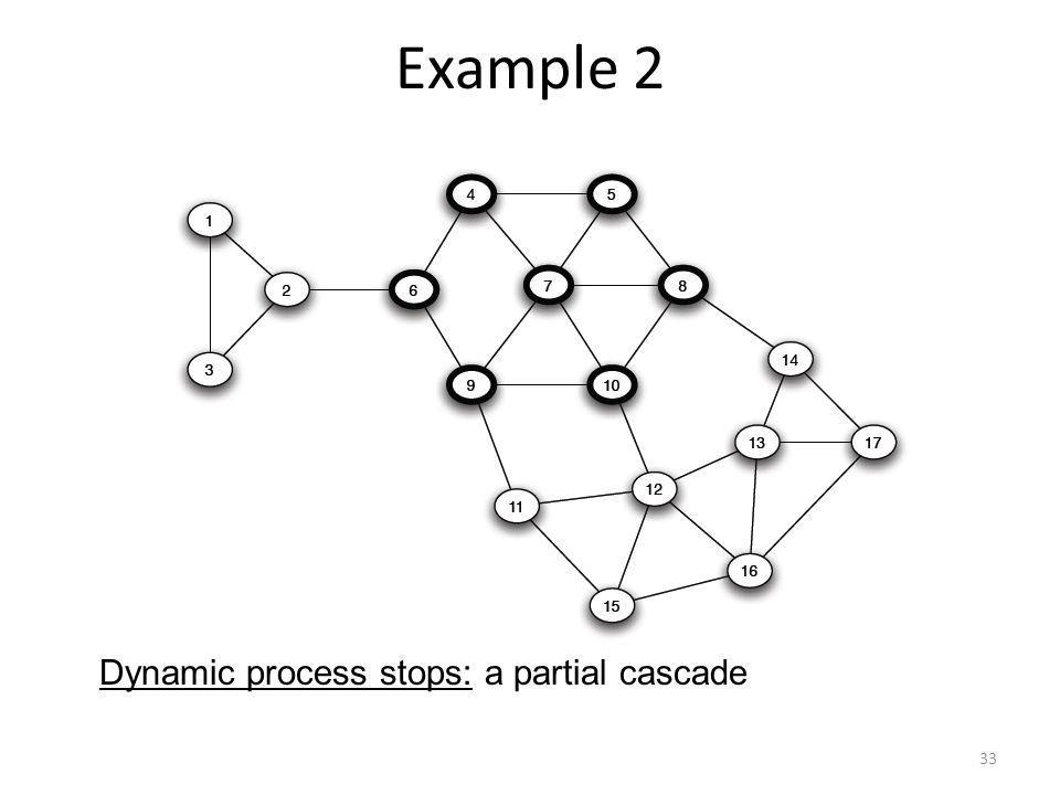 Example 2 33 Dynamic process stops: a partial cascade