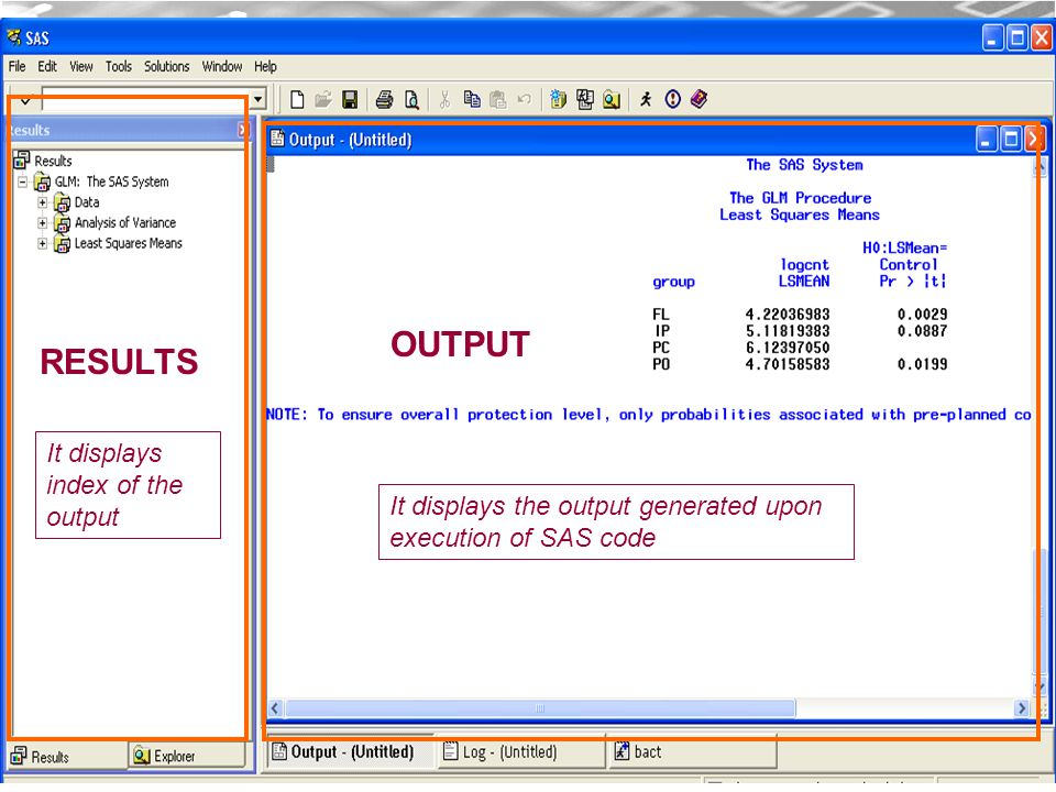 CDM 17 OUTPUT It displays the output generated upon execution of SAS code RESULTS It displays index of the output
