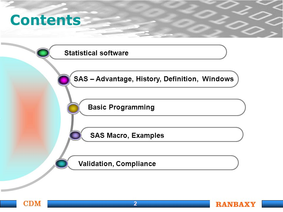 CDM 2 Statistical software SAS – Advantage, History, Definition, Windows Basic Programming SAS Macro, Examples Validation, Compliance Contents