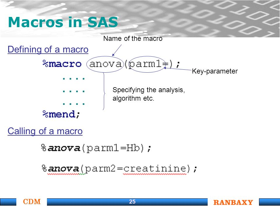 CDM 25 Macros in SAS Defining of a macro Calling of a macro Specifying the analysis, algorithm etc. Name of the macro Key-parameter