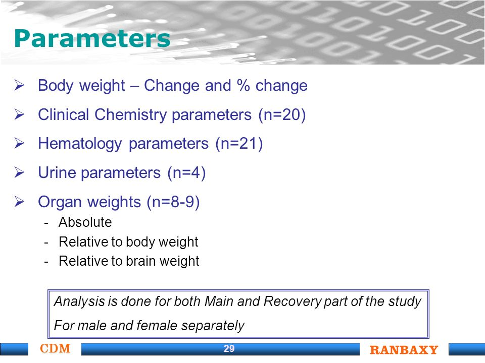 CDM 29 Body weight – Change and % change Clinical Chemistry parameters (n=20) Hematology parameters (n=21) Urine parameters (n=4) Organ weights (n=8-9) -Absolute -Relative to body weight -Relative to brain weight Parameters Analysis is done for both Main and Recovery part of the study For male and female separately