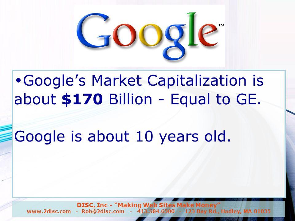 DISC, Inc - Making Web Sites Make Money www.2disc.com - Rob@2disc.com - 413.584.6500 - 123 Bay Rd., Hadley, MA 01035 Google, Inc.
