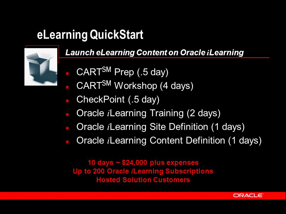 eLearning QuickStart Launch eLearning Content on Oracle i Learning CART SM Prep (.5 day) CART SM Workshop (4 days) CheckPoint (.5 day) Oracle i Learni