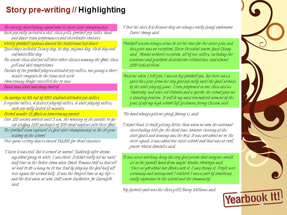 Write Rough Draft Combine facts, figures & feelings into main, cohesive story Lead Quote/Transitions Conclusion