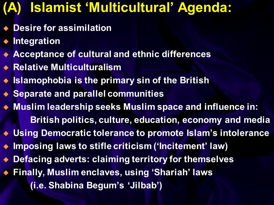 (A)Islamist Multicultural Agenda: Desire for assimilation Integration Acceptance of cultural and ethnic differences Relative Multiculturalism Islamophobia is the primary sin of the British Separate and parallel communities Muslim leadership seeks Muslim space and influence in: British politics, culture, education, economy and media Using Democratic tolerance to promote Islams intolerance Imposing laws to stifle criticism (Incitement law) Defacing adverts: claiming territory for themselves Finally, Muslim enclaves, using Shariah laws (i.e.