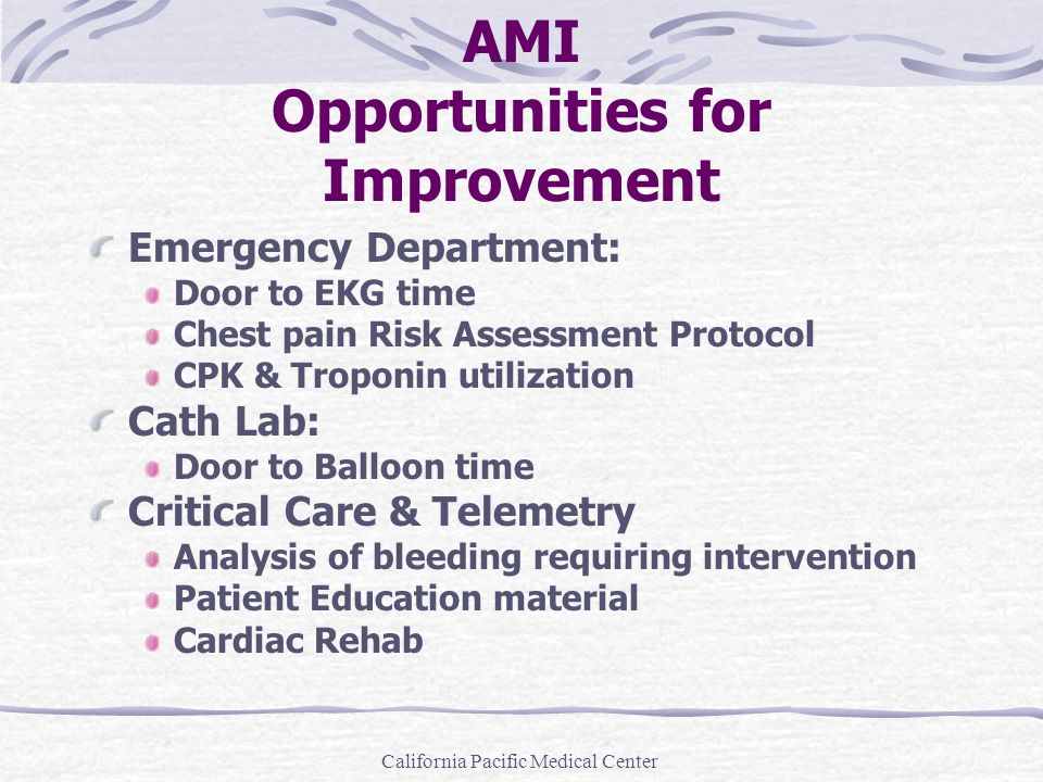 California Pacific Medical Center AMI Opportunities for Improvement Emergency Department: Door to EKG time Chest pain Risk Assessment Protocol CPK & T