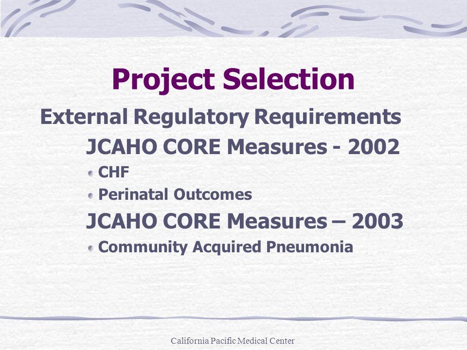 California Pacific Medical Center AMI (cont.) 6.Beta blocker prescribed at discharge 7.