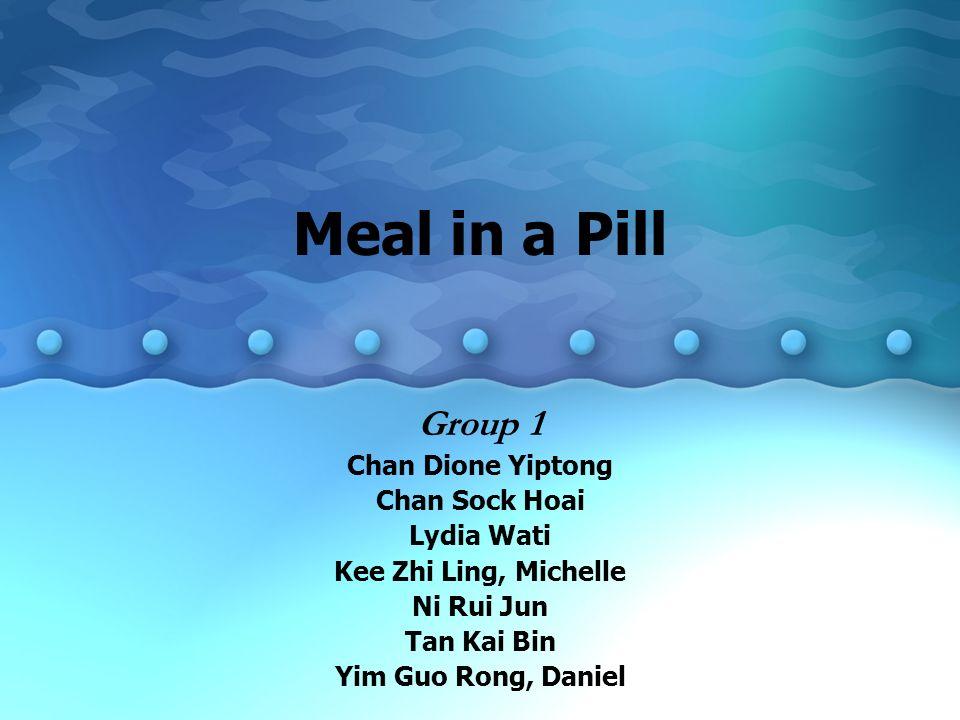 Meal in a Pill Group 1 Chan Dione Yiptong Chan Sock Hoai Lydia Wati Kee Zhi Ling, Michelle Ni Rui Jun Tan Kai Bin Yim Guo Rong, Daniel