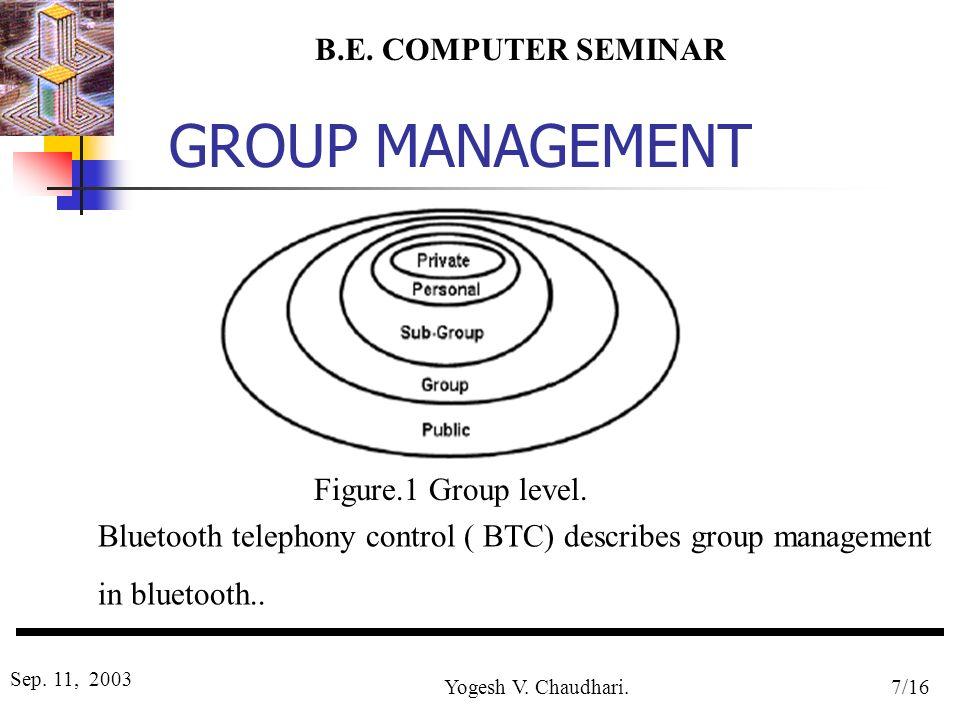 B.E. COMPUTER SEMINAR Sep. 11, 2003 Yogesh V. Chaudhari.7/16 GROUP MANAGEMENT Figure 2 Figure.1 Group level. Bluetooth telephony control ( BTC) descri