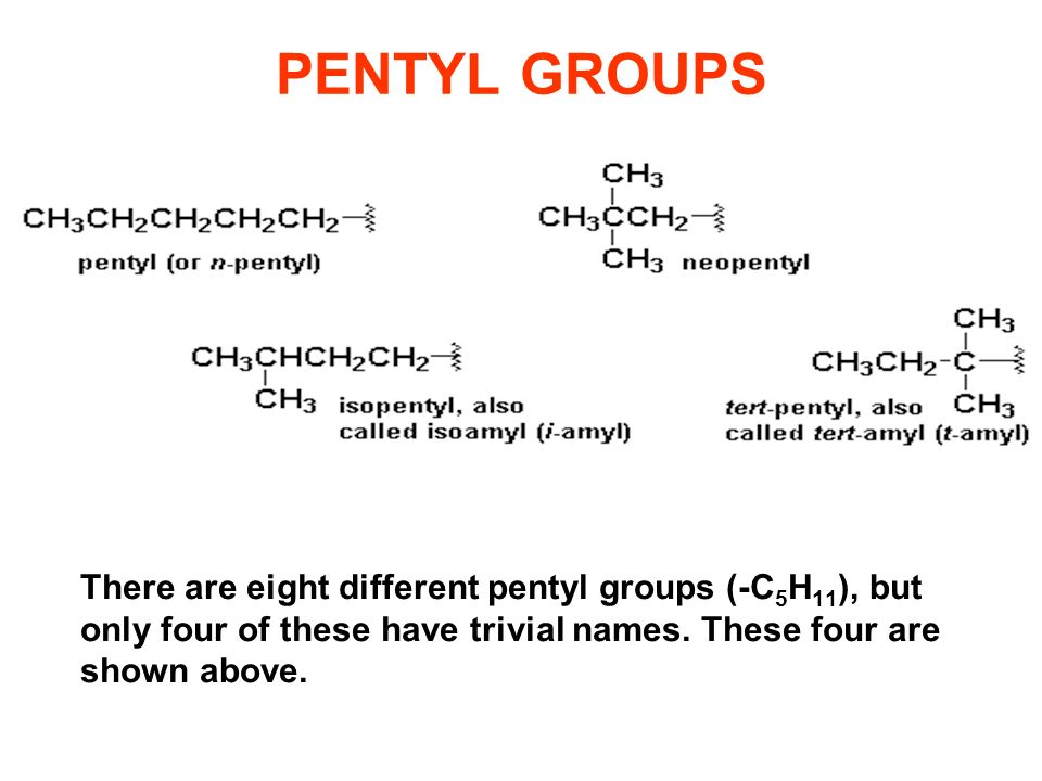 PENTYL GROUPS There are eight different pentyl groups (-C 5 H 11 ), but only four of these have trivial names. These four are shown above.